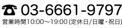 03-6661-9797 営業時間10:00〜19:00(定休日/日曜・祝日)
