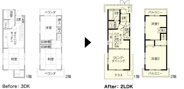 Before: 3DK → After: 2LDK